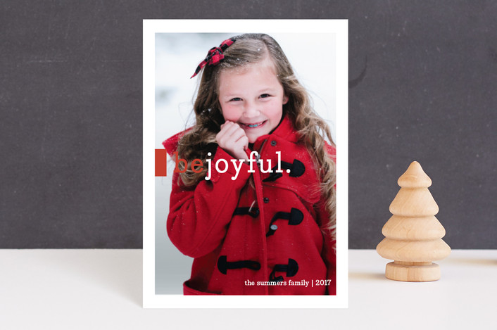 """""""Be Joyful"""" - Modern, Minimalist Holiday Petite Cards in Crimson by Snow and Ivy."""