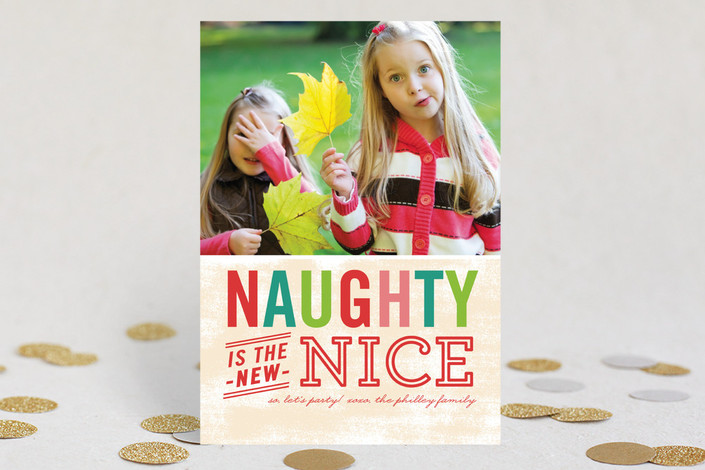 """Naughty is Nice"" - Bold typographic, Funny Holiday Petite Cards in Cherry by j.bartyn."