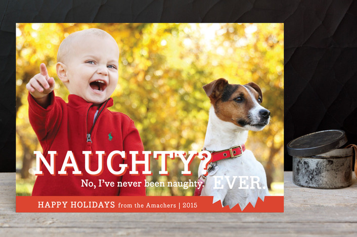 """""""Naughty or Nice"""" - Funny, Modern Holiday Petite Cards in Orange Red by bright designlab."""