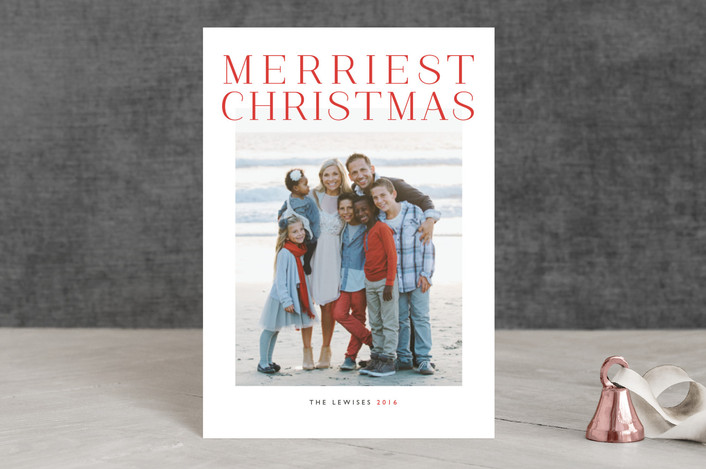 """""""Grand"""" - Minimalist, Simple Holiday Petite Cards in Holly Berry by Alston Wise."""