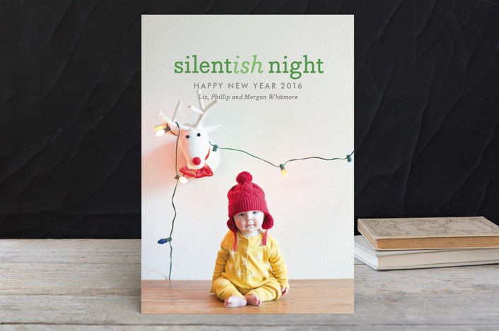 """""""Silentish Night"""" - Modern, Funny Holiday Petite Cards in Alpine by Olivia Raufman."""