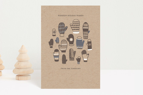 Mitten Pattern Holiday Card Holiday Petite Cards