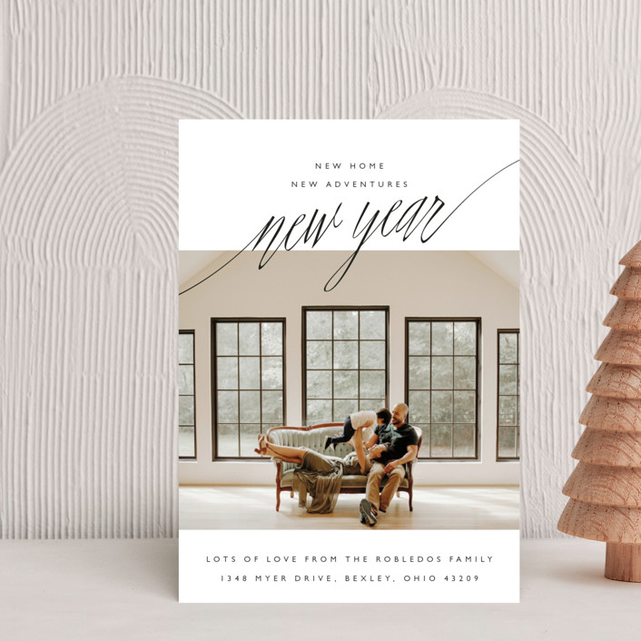 """New Adventures"" - Simple, Minimalist Holiday Petite Cards in Onyx by Oscar & Emma."