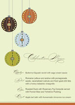 Decorative Ornaments Holiday Party Menus