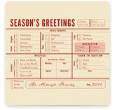 Season&#039;s Greetings Checklist Holiday Non-Photo Cards