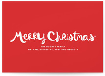 Handlettered Merry Christmas Holiday Non-Photo Cards