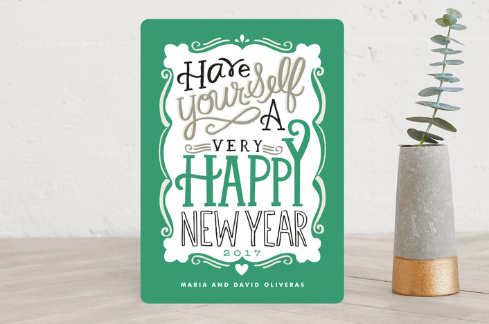 """""""Merry Typography"""" - Bold typographic, Hand Drawn Holiday Cards in Emerald by Alethea and Ruth."""
