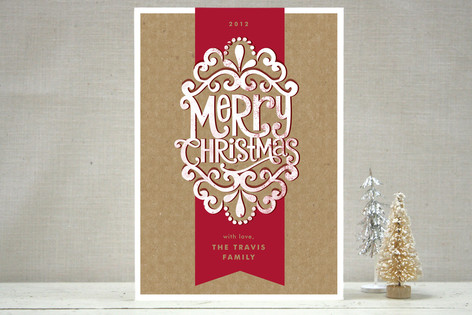 Kraft Ribbon Holiday Non-Photo Cards