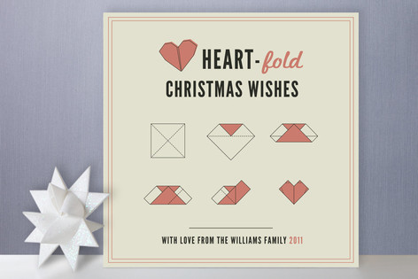Heart-Fold Christmas Wishes Holiday Non-Photo Cards