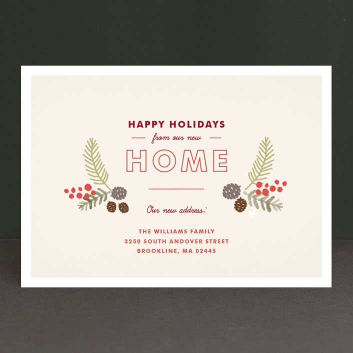 """Home for the Holidays"" - Rustic/Craft Holiday Cards in Cream by Jennifer Wick."