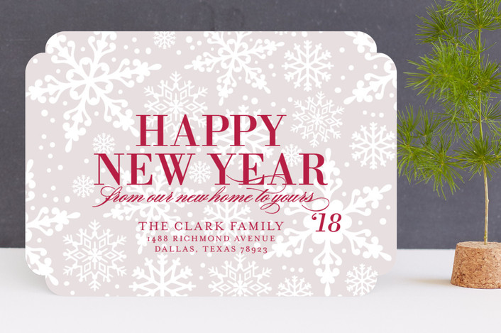 """""""Flurries"""" - Bold typographic Holiday Cards in Ruby Red by Lauren Chism."""