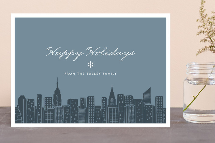 """""""Big City - New York City"""" - Cities & States, Modern Holiday Cards in Steel Blue by Hooray Creative."""