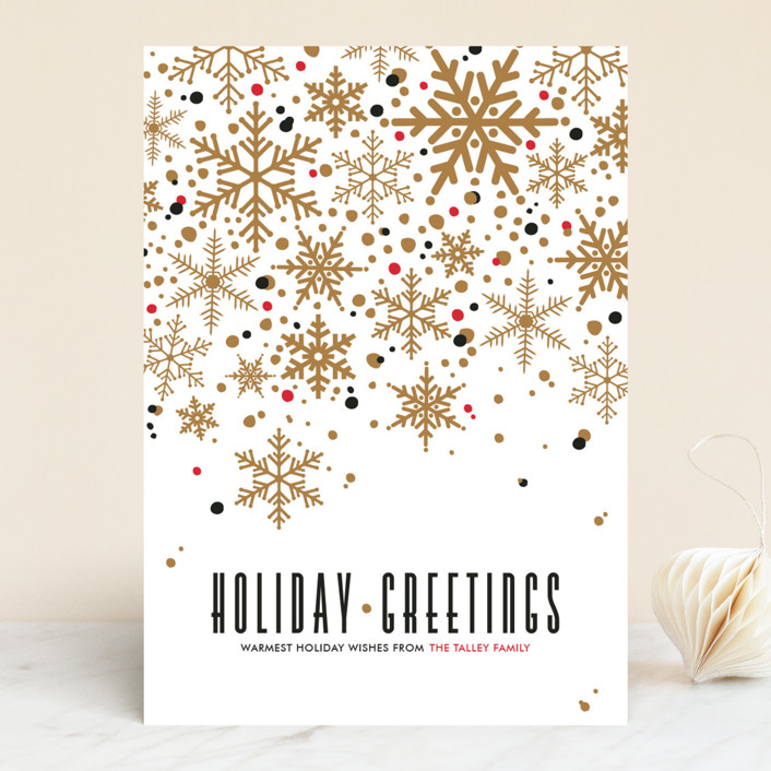 """Sophisticated Snow"" - Vintage Holiday Cards in Gold by Pistols."