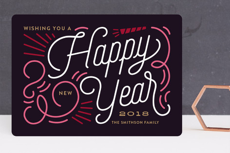 Swirly New Year Holiday Cards