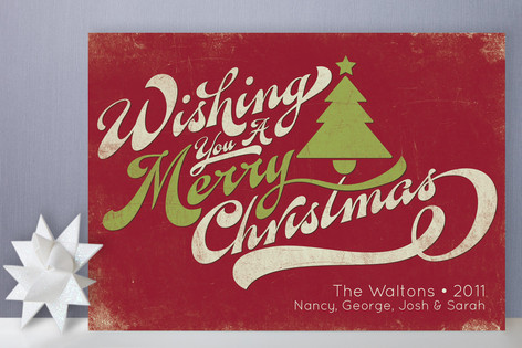 Merry Retro Christmas Holiday Non-Photo Cards