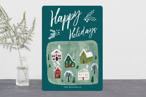Village Scene Holiday Holiday Cards