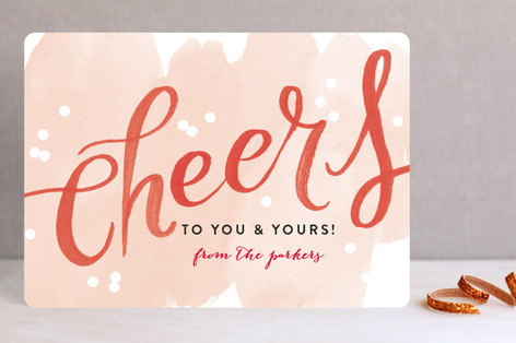 Watercolor Cheers Holiday Cards