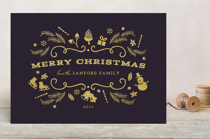 """""""Glimmer"""" - Holiday Cards in Midnight by Griffinbell Paper Co.."""