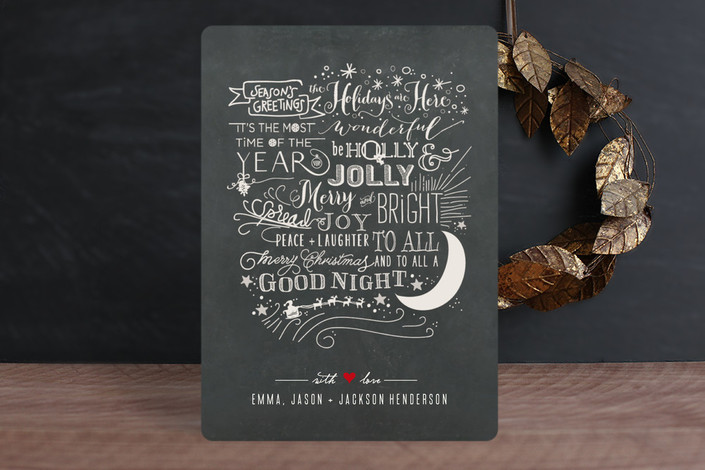 """""""Long Winded"""" - Chalkboard, Typography Holiday Cards in Chalkboard by Rebecca Bowen."""