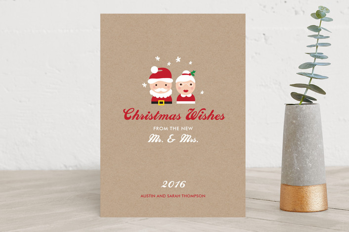 """Mr. & Mrs. Wishes"" - Elegant Holiday Cards in Natural Kraft by sweet street gals."