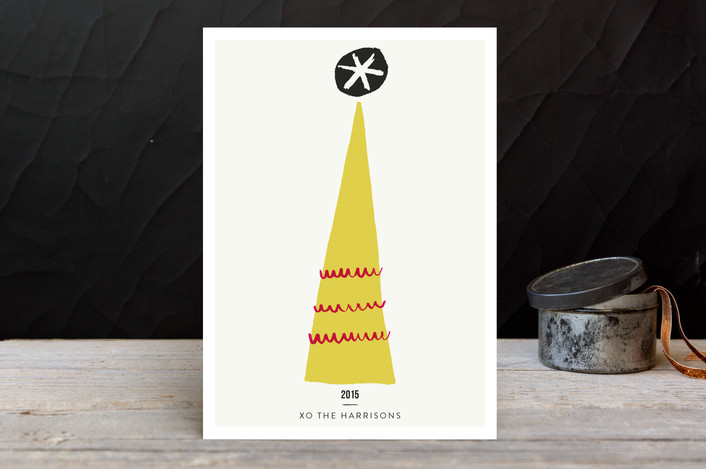 """""""Tinsel Town"""" - Modern, Minimalist Holiday Cards in Curry by Yours Madly."""