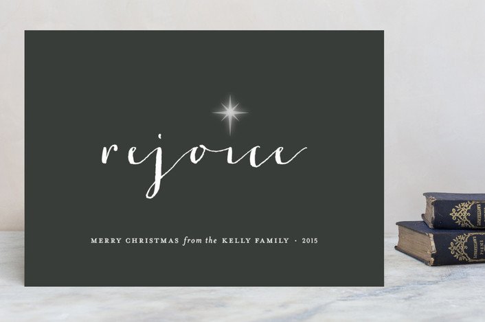 """Rejoice"" - Minimalist Holiday Cards in Steel by Sara Hicks Malone."