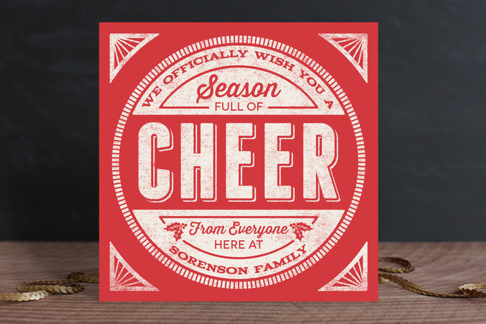 """""""Cheer Stamp"""" - Bold typographic Holiday Cards in Holly by GeekInk Design."""