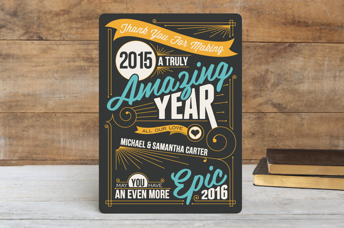 """""""An Amazing Year"""" - Typography, Bold typographic Holiday Cards in Aqua by GeekInk Design."""