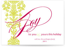 float + deer damask Holiday Non-Photo Cards