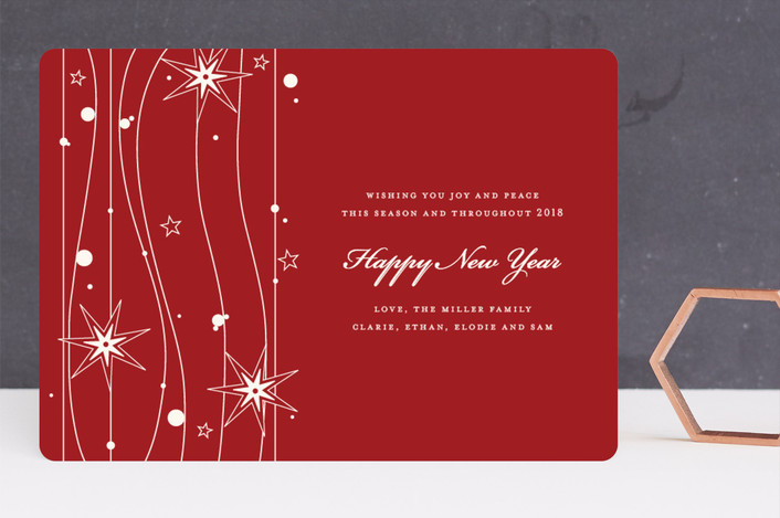 """""""Twilight Stars"""" - Modern Holiday Cards in Cranberry Red by Cococello."""