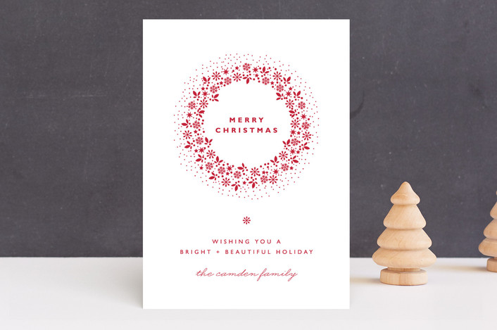 """Red Wreath"" - Elegant, Floral & Botanical Holiday Cards in Snow by Coco and Ellie Design."