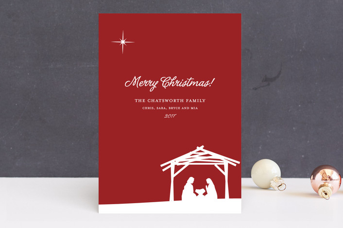 """""""Away In a Manger"""" - Simple, Modern Holiday Cards in Cranberry Red by annie clark."""