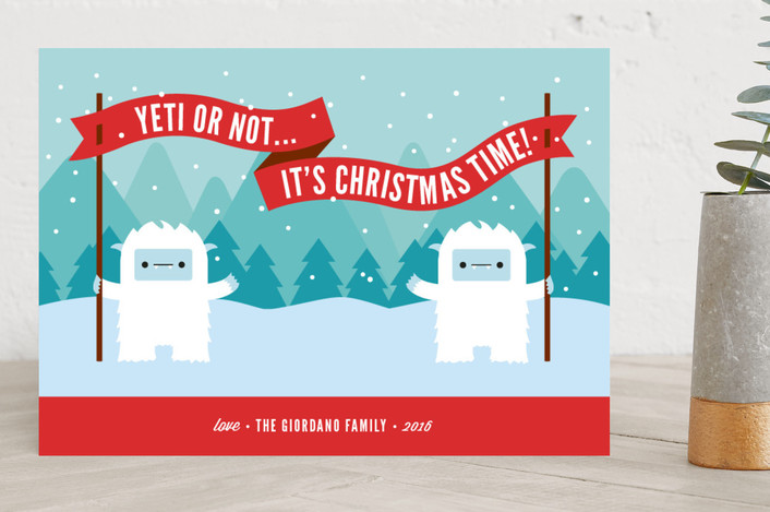 """Yeti or Not"" - Funny Holiday Cards in Candy Apple by Genna Cowsert."