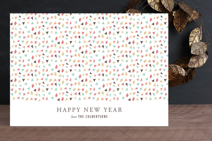 """""""Confetti New Year"""" - Simple, Elegant Holiday Cards in Grapefruit by Sarah Curry."""