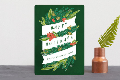 Sketched Banner and Greenery Holiday Cards