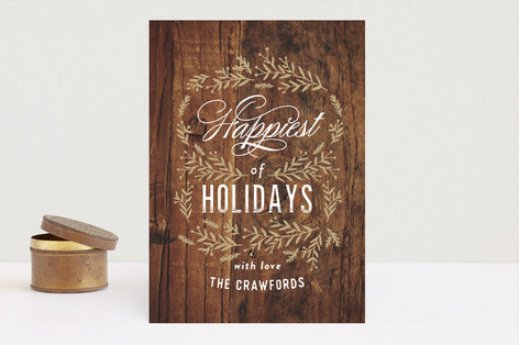 Vintage Woodgrain Holiday Cards