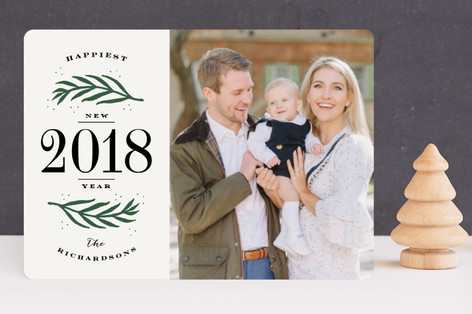 Branched Border New Year Photo Cards