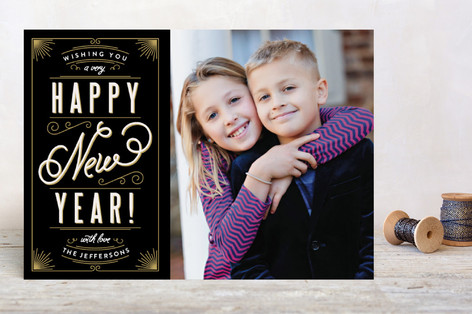 Classic Type New Year Photo Cards