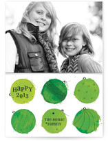Painted Baubles New Year&#039;s Photo Cards