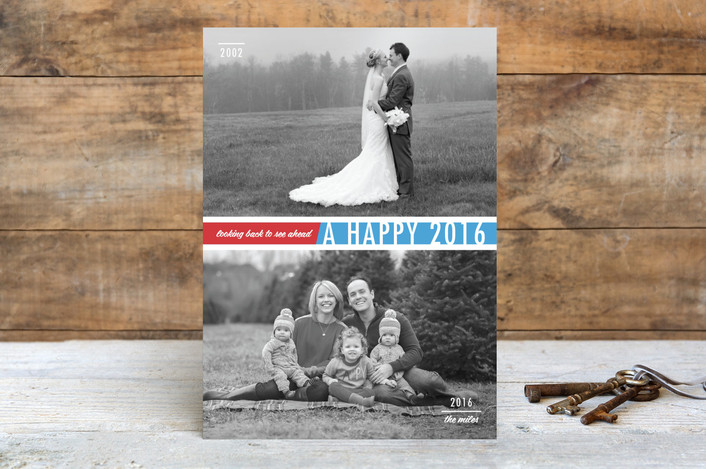 """""""Looking Back to See Ahead"""" - Modern, Minimalist New Year Photo Cards in Azure by Frooted Design."""