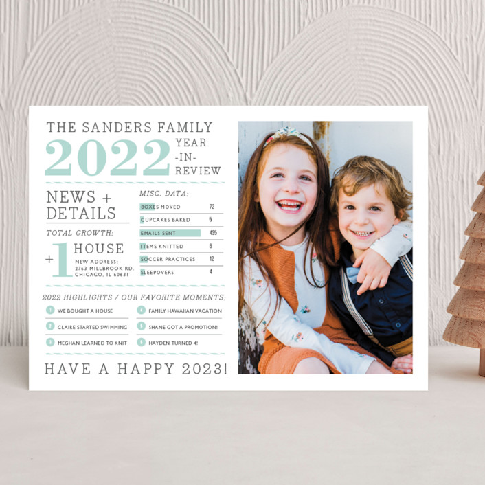 """""""Family Year in Review"""" - Newsletter, Modern New Year Photo Cards in Pear by j.bartyn."""