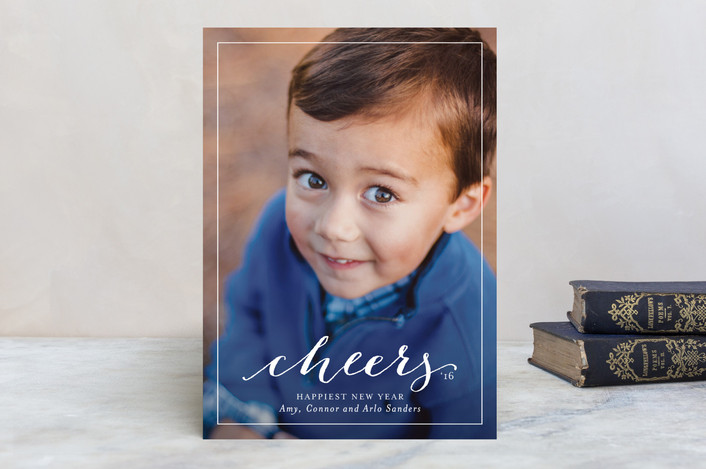 """""""Cheerful"""" - Elegant, Minimalist New Year Photo Cards in White by Lauren Chism."""