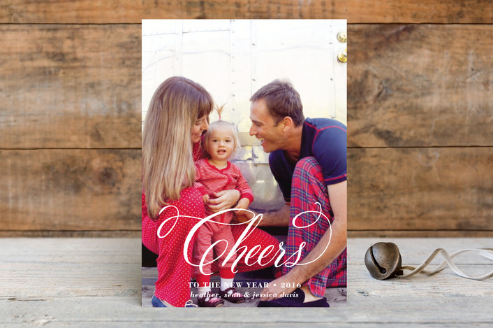 """Cheers to Us"" - Elegant, Typography New Year Photo Cards in Lily by Paper Dahlia."