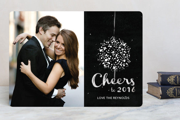 """""""Elegant Ball Drop"""" - Hand Drawn, Modern New Year Photo Cards in Midnight by Pistols."""