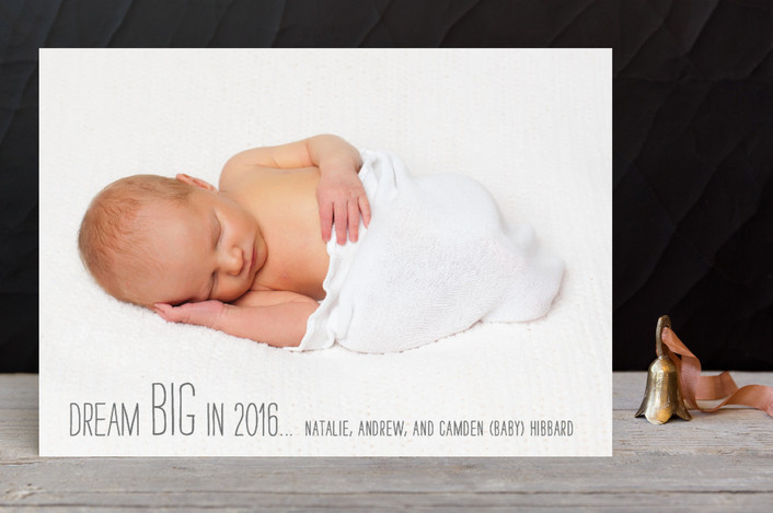 """""""Dream BIG"""" - Full-Bleed Photo, Minimalist New Year Photo Cards in Slate by netsy and company."""