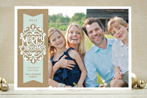 Kraft Ribbon New Year's Photo Cards
