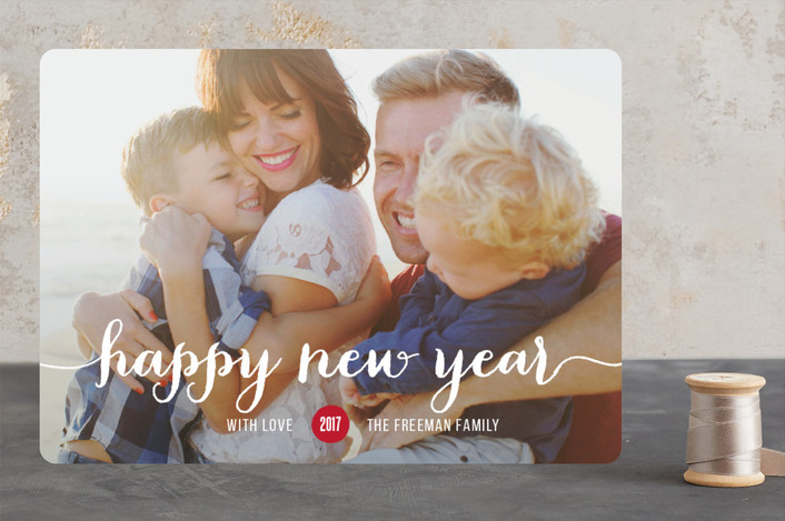 """""""Magical"""" - Minimalist, Full-Bleed Photo New Year Photo Cards in Cherry by Susan Brown."""