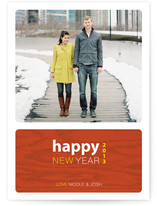 Urban Wood Grain New Year's Photo Cards
