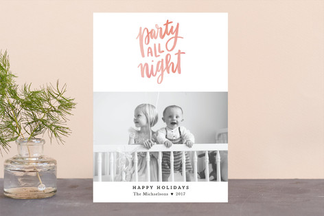 Party All Night New Year Photo Cards