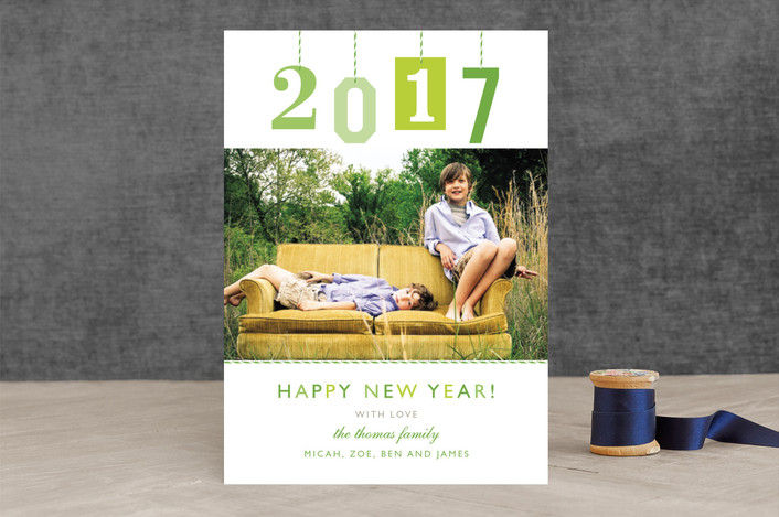 """""""New Year Gift Tag"""" - Modern New Year Photo Cards in Mint by j.bartyn."""
